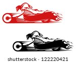 Death monster on motorcycle for biker and racer tattoo design, such a logo template. Jpeg version also available in gallery - stock vector