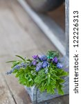aromatic herbs bunch on wooden