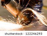 cutting metal by electric wheel ... | Shutterstock . vector #122246293