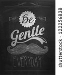 Vintage Mustache Calligraphic And Typographic Background With Chalk Word Art On Blackboard - stock vector
