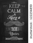 Vintage Happy New Year Calligraphic And Typographic Background With Chalk Word Art On Blackboard - stock vector