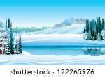 Vector winter landscape with frozen lake, forest and hills on a blue sky background - stock vector