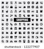 vector black shopping icons on... | Shutterstock .eps vector #122277907