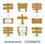 wooden signs set  vector  10eps. | Shutterstock .eps vector #122306023