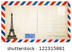 Vintage postcard with Eiffel tower isolated on white - stock photo