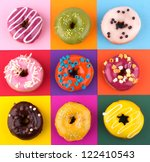 donuts isolated on colorful... | Shutterstock . vector #122410543