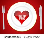 Healthy eating concept illustration design over a red background - stock photo