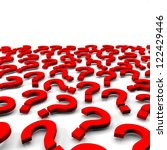 Many 3d red question marks on white background - stock photo