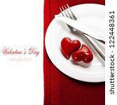 hearts on a plate. Valentine's day (with sample text) - stock photo