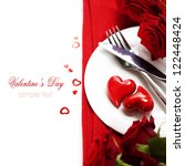 hearts on a plate. Love, harmony and Valentine's day concept (with sample text) - stock photo