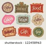 vector set of doodle labels   Shutterstock .eps vector #122458963