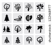 vector black trees icon set on...