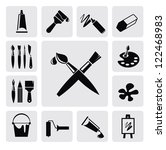 vector black art icons set on... | Shutterstock .eps vector #122468983