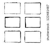 Set of black grunge frames isolated on white background