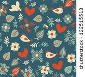 seamless pattern with birds ... | Shutterstock .eps vector #122515513