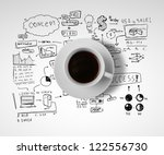 coffee cup and business strategy on a white background - stock photo