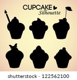 Set of cupcake silhouettes - stock vector