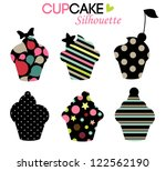 cupcake design,colorful silhouettes - stock vector