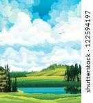 green vector summer landscape... | Shutterstock .eps vector #122594197