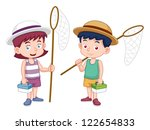 illustration of boy and girl... | Shutterstock .eps vector #122654833