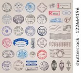 Vector set of 39 vintage postage stamps from countries all over the world - stock vector