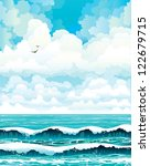 Group of clouds on a blue sky with two birds and turquoise sea with waves. Vector summer landscape. - stock vector