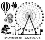 vector black and white background elements of ferris wheel, hot air balloons, fireworks, lamps, tree and road signs - stock vector