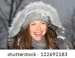 woman laughing outdoor | Shutterstock . vector #122692183