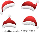 vector santa hat set | Shutterstock .eps vector #122718997