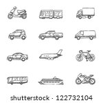 Transportation icon series in sketch - stock vector