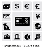 vector black credit card icons set on gray - stock vector