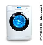 washing machine with  open door - stock photo