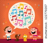 kids singing | Shutterstock .eps vector #122770207