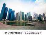 Skyscrapers of business district in Singapore City. - stock photo