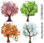 vector seasonal trees with... | Shutterstock . vector #122803663