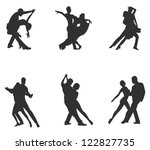 Set of silhouette dancing couple, create by vector - stock vector