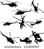 helicopters collection   vector | Shutterstock .eps vector #122830987