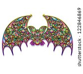 Bat Psychedelic Art Design - stock photo