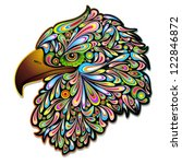 Eagle Hawk Psychedelic Art Design - stock photo