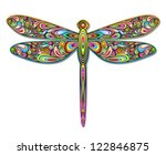 Dragonfly Psychedelic Art Design - stock photo