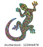 Gecko Geko Lizard Psychedelic Art Design - stock photo