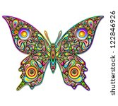 Butterfly Psychedelic Art Design - stock photo