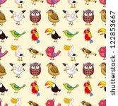Seamless Bird Pattern Cartoon...