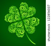 vector ornate lucky 4 leaf... | Shutterstock .eps vector #122856037