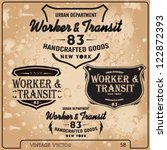 transport labels set | Shutterstock .eps vector #122872393