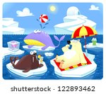 Summer or Winter at the North Pole. Cartoon vector illustration. - stock vector