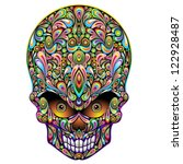 Skull Psychedelic Art Design - stock photo