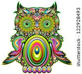 Owl Psychedelic Art Design - stock photo