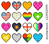 Assorted Pixel Love Hearts - stock vector