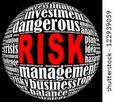 Risk info-text graphics arrangement on black background - stock photo